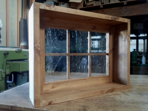 FIX窓・枠付き(泡入りガラス、格子付き)