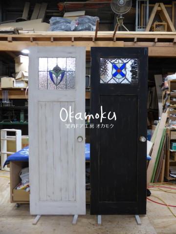 アンティークペイント仕上げのドア(白・黒)