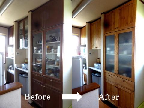 キッチンカップボード扉交換(before-after)