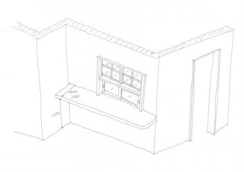 キッチン造作窓イメージ/okamoku