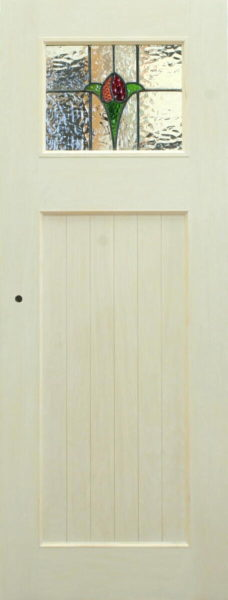 ホワイト木目仕上げのアンティークステンドグラスドア