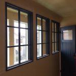 室内窓(FIX窓)黒色塗りつぶし仕上げ3連/okamoku